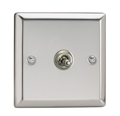 Varilight XCT1 Classic Mirror Chrome 1 Gang 10A 1 or 2 Way Toggle Light Switch
